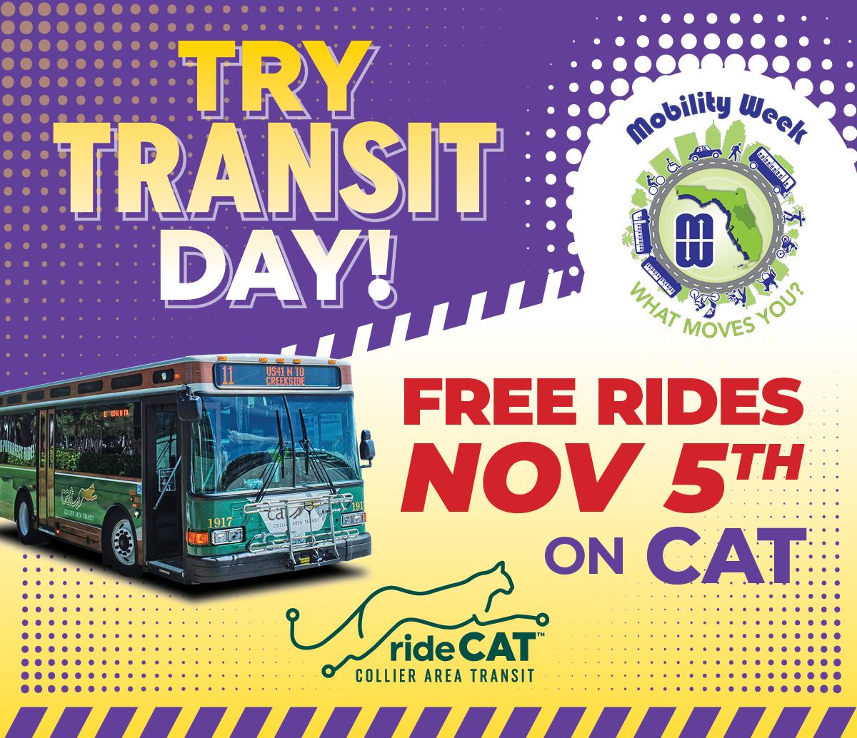 Try Transit Day! Free rides on Friday, November 5, 2021